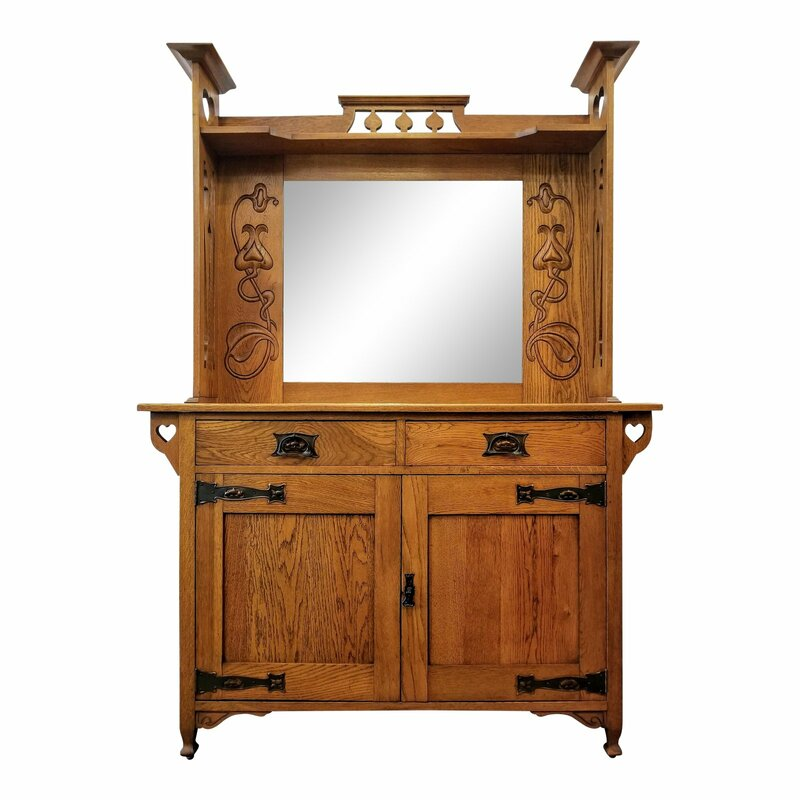This Arts & Crafts sideboard with beveled glass mirror is constructed of  plain oak wood. - INDIA STREET ANTIQUES - Home