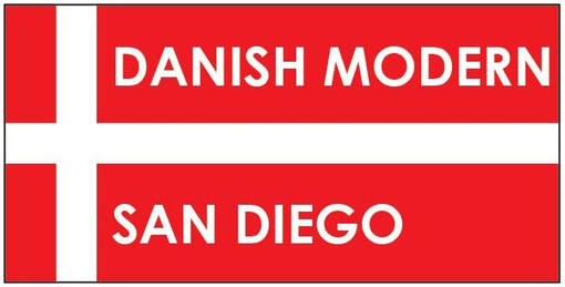 Danish Modern San Diego logo. White text against red and white flag of Denmark. Click the logo to visit danishmodernsd.com